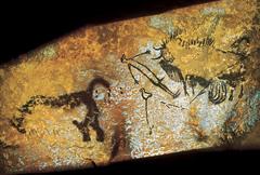 (1-12) Bird-Headed Man with Bison  Dordogne region of France  15,000 BCE