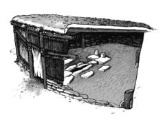 (1-15) Reconstruction Drawing of Lepenski Vir House  Serbia  6,000 BCE