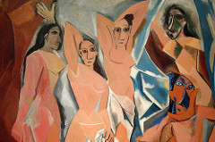 126. Les Demoiselles d'Avignon Location:  Artist: Pablo Picasso Date: 1907 C.E. Culture: ... Period/Style: Later Europe/Americas Medium/Material: Oil on canvas Theme(s): sensuality, nudity Form: Each figure is depicted in a disconcerting confrontational manner and none are conventionally feminine Function: ... Content: five nude female prostitutes from a brothel on Carrer d'Avinyó (Avinyó Street) in Barcelona Context: At the time of its first exhibition in 1916, the painting was deemed immoral Cross Cultural Connection(s):