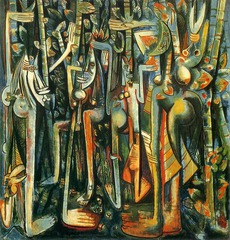142. The Jungle Location:  Artist: Wilfredo Lam Date: 1943 C.E. Culture: ... Period/Style: Later Europe/America Medium/Material: Gouache in paper mounted on canvas Theme(s): perception Form: disproportion among the shapes generates an uneasy balance between the composition's denser top and more open bottom Function: to depict a scene in the jungle Content: cluster of enigmatic faces, limbs, and sugarcane crowd a canvas that is nearly an 8 foot square Context: Lam was in Madrid and Paris, but in 1941 as Europe was engulfed by war, he returned to his native country. Though he would leave Cuba again for Europe after the war, key elements within his artistic practice intersected during this period Cross Cultural Connection(s):