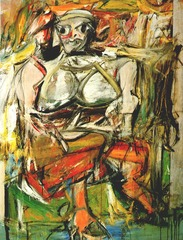 145. Woman, I Location: ? Artist: Willem de Kooning Date: 1950-1952 C.E. Culture: ... Period/Style: Later Europe/America Medium/Material: Oil on Canvas Theme(s): ... Form: threatening stare and ferocious grin are heightened by de Kooning's aggressive brushwork and frantic paint application Function: to depict the age-old cultural ambivalence between reverence for and fear of the power of the feminine Content: ampish females, knotted up in swathes of abstraction, took detours from earlier ladylike forms into a new and violent direction Context: De Kooning both distanced himself most clearly from his fellow abstract painters and expressed this figurative interests most memorably in his Woman paintings Cross Cultural Connection(s):