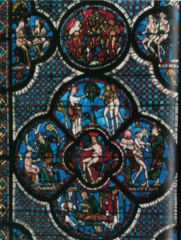 16-12 Good Samaritan Window with Scenes from Genesis, Chartres Cathedral (Gothic art, 1150-1400)