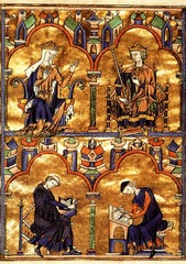 16-18 Queen Blanche of Castile and King Louis IX, Moralized Bible (Gothic art, 1150-1400)