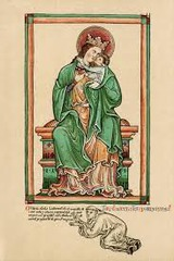 16-20 Matthew Paris, Self-Portrait kneeling before the Virgin and Child (Gothic art, 1150-1400)