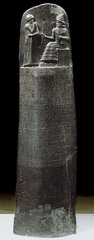 19. The Code of Hammurabi Location: Babylon (modern-day Iran) Artist: Hammurabi Date: c. 1,792-1,750 B.C.E Culture: Susian Period/Style: Ancient Near East Medium/Material: words/symbols carved into 8ft. basalt Theme(s): law, inscriptions, rule Form: Tall structure with an example of scale on top. The being with greater power is shown as sitting while at the same time being the same height as Hammurabi. Function: a system of Babylonian laws, also the first Content: Inscriptions describing the rules and regulations of Hammurabi Context: In this stone is carved with around 300 laws, the first know set of ruler enforced laws.