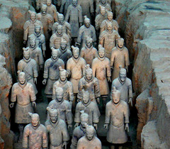 193. Terracotta Warriors Location: from mausoleum of the first Qin emperor of China Artist: Date: c. 221-209 BCE Culture: Period/Style: Qin Dynasty Medium/Material: Painted terracotta Theme(s): Form:  Function:  Content: Context: Cross Cultural Connection(s):