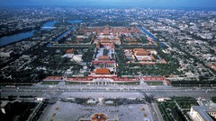 206. The Forbidden City Location: Beijing, China Architect: plotted by Zhu Di, a YongLe emperor Date: started in 1406, ended in 1420 Culture: Chinese  Period/Style: Chinese Architecture (Ming Dynasty) Medium/Material: stone from Fangshang, timber and stone transported on ice, white lime and glutinous rice (walls), cement is made from glutinous rice and egg whites Theme(s): power, change, hierarchy  Form: red walls and yellow glazed roof tiles, a micro-city , measures 961 meters in length and 753 meters in width; more than 90 palace compounds including 98 buildings and surrounded by a moat as wide as 52 meters; 15 layer pathways Function: political and ritual center of China for over 500 years Content: 9,999 rooms, outer court has five halls used for ceremonial purposes and other  official business; lots of yellow, to represent the connection to the element of earth; Hall of Supreme Harmony has a dragon, phoenix, lion, heavenly steed, sea horse, Suan ní, ziè jhì, Dòuniú, and zíng shén Context: The number