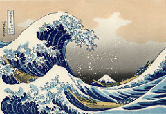 211. Under the Wave off Kanagawa (Kanagawa oki nami ura), also known as The Great Wave off Kanagawa, from the series Thirty-six Views of Mount Fuji Location:  Artist: Katsushika Hokusai Date: c. 1830-1833 CE Culture: Period/Style:  Medium/Material: Polychrome woodblock print; ink and color on paper Theme(s): Form:  Function:  Content: Context: Cross Cultural Connection(s):