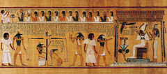 24. Last judgment of Hu-Nefer, from his tomb (page from the Book of the Dead) Location: New Kingdom, 19th Dynasty Artist: N/A Date: c. 1275 B.C.E Culture: Egyptian Period/Style: Ancient Egyptian  Medium/Material: Painted papyrus scroll Theme(s): judgment, ethics Form: Colors, line, and shape illustrate the narrative. Scale/hierarchy of scale is demonstrated. Function: to depict Hu-Nefer's last judgment  Content: 3