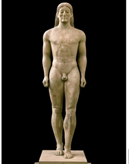 27. Anavysos Kouros. Archaic Greek. c. 530 B.C.E. Marble with remnants of paint. -ideal human body: athletic, tall, muscular -used as grave marker -honored youth died in battle -naturalistic idealism -resembles egyptian art/ka statues (Menkaure and his wife) -archaic smile -emphasizes importance of male figure, noble death, and athleticism -inscription connects to Greek religion