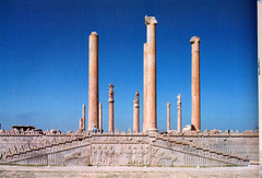 30. Audience Hall (apadana) of Darius and Xerxes Location: Persepolis in Susa, Iran Artist: N/A Date: c. 520-465 B.C.E Culture: Persian  Period/Style: Etruscan Medium/Material: Limestone Theme(s): entertainment, ceremony, ritual Form: Many pillars (now fallen) that have/had bulls on top. Function: to receive people from other lands Content: ... Context: ...