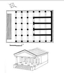 31. Temple of Minerva (plan) and sculpture of Apollo Location: The roof of the Portonaccio temple, Veii, Italy, near Rome, Italy Artist: Master sculptor Vulca; Patron: Etruscan king of Rome, Tarquinius Superbus Date: c. 510-500 B.C.E. Culture: Etruscan Period/Style: Archaic Greece Medium/Material: Original temple of wood, mud brick, or tufa (volcanic rock); terra cotta sculpture Theme(s):  Form:  Function: (sculpture) Temple rooftop statue Content: Figure is energetic and excited; movement; terra cotta, statuary, mythology Context: The statue is part of a group of at least four other painted terracotta figures that adorned the temple roof. They depicted one of the twelve labors of Hercules. The bright paint and the style of drapery are reminiscent of Archaic korai, but the figure's vigorous motion, gesticulating arms, animated face, and overall energy and excitement are distinctly Etruscan.