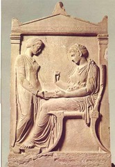 36. Grave stele of Hegeso. Attributed to Kallimachos. c. 410 B.C.E. Marble and paint. -Athens, Greece -High Classical -relief carving -servant/slave girl holds out box to older/more mature woman on a klismos (chair) with feet elevated, older woman holds up necklace -made to adorn the grave of Hegeso -shows Hegeso's status and power (hierarchy of scale, necklace, and servant with poorer dress), shown positively to celebrate life after death  -themes: contrast between classes, respect of the dead -hyper-realistic, emotionless faces, motionless bodies, daily life (typical of high classical art) -context: women secluded to home, extremely wealthy father (mentioned in epitaph), patriarchal society