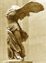 37. Winged Victory of Samothrace. Hellenistic Greek. c. 190 B.C.E. Marble. -aka Nike of Samothrace -Samothrace, Evros  -wet drapery -built to commemorate naval victory -nike=symbol of victory -dramatic, hyper-realistic -context: build to stand in or above fountain with cascading water, hellenistic style, Greek cultural emphasis on victory/success/prosperity