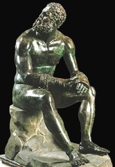 41. Seated boxer. Hellenistic Greek. c. 100 B.C.E. Bronze. -artist: Lyssipus of Sikyon -lost-wax technique, bronze infused with copper (gives look of blood) -defeated boxer, old, bruised, scarred, cauliflower ears -evokes compassion -defeat, heroism, emotion, drama -context: hellenistic art (dramatic, highly emotional, expressive faces, hyper-realistic), Greek cultural emphasis on athleticism and physical form