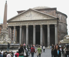 46. Pantheon Location: Rome, Italy Artist: N/A Date: 125 C.E. Culture: Period/Style: High Empire/Roman Art Medium/Material: Concrete, stone facing Theme(s): Form:  Function: temple, then church; temple for all of the gods. Content: Context: temple that was repurposed throughout the years; Work on the Pantheon started immediately after Hadrian became emperor; dome's summit is the same distance from the floor as the diameter of the dome (142 feet); interior space can be imagined as