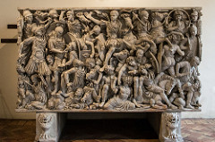 47. Ludovisi Battle Sarcophagus Location: Near Porta Turbatina Artist: N/A Date: c. 250-260 C.E. Culture: Period/Style: Late Imperial Roman Medium/Material: Theme(s): war,