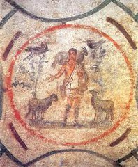 48c. Catacomb of Priscilla (Good Shepherd Fresco) Location: Rome, Italy Artist: ? Date: c. 200-400 C.E. Culture: ... Period/Style: Late Antique Europe Medium/Material: Excavated tufa and fresco Theme(s): ... Form: Retrained portrait of Christ as a Good Shepherd, a pastoral motif in ancient art going back to the Greeks. Function: Symbolism of the Good Shepherd: rescues individual sinners in his flock who stray.  Content: Stories of the life of the Old Testament Prophet Jonah who appears in the lunettes; Jonah's regurgitation from the mouth of a big fish is seen as prefiguring Christ's resurrection. Context: Early Christian catacombs Significance: Parallels between Old and New Testament stories feature prominently in Early Christian art; Christians see this as a fulfillment of the Hebrew scriptures. Cross Cultural Connection(s): Sistine Chapel Ceiling; Arena Chapel; Gaulli, Triumph of the Name of Jesus