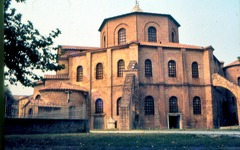 51a. San Vitale Location: Ravenna, Italy Date: 526-547 C.E. Period/Style: Early Byzantine Medium/Material: brick, marble, stone Theme(s): worship Form: Octagon shape, plan exterior, large windows, thin interior columns, open arched spaces, interior elements dematerialize the mass of the structure, martyrium Function: Church (worship) Content: two superposed ambulatories; Upper one (the martyrium) was reserved for married women. Series of mosaics in the lunettes above the triforium depict sacrifices from the Old Testament Context: thought to reflect the design of the Byzantine Imperial Palace Audience Chamber, of which nothing at all survives Cross Cultural Connection(s): Pantheon, Mosque of Selim II