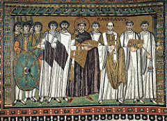 51b. Justinian and Attendants Location: San Vitale; Ravenna, Italy Date: c. 547 C.E. Period/Style: Early Byzantine Medium/Material: mosaic Theme(s): authority, unity between state and church Form: symmetrical and frontal, figures have no volume, float, overlap, minimal background Function: to depict Justinian and his attendants participating in the Mass Content: dressed in royal purple and gold, holds a paten, Archbishop Maximianus identified, Halos indicate saintliness Context: Banker Julianus Argentarius financed the building of San Vitale Cross Cultural Connection(s): Alexander Mosaic