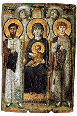 54. Virgin (Theotokos) and Child between Saints Theodore and George Location: Monastery of Saint Catherine, Mount Sinai, Egypt Date: sixth-early seventh centuries Period/Style: Early Byzantine Medium/Material: encaustic on wood Theme(s): icons Form: Virgin and Child centrally placed, firmly modeled Function: to depict Mary and her son Content: Saints Theodore and George; warrior saints; stiff and hieratic (engage viewer directly); angels look towards heaven (classically) Context: placed in a medieval monastery Cross Cultural Connection(s):