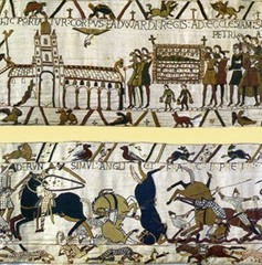 59. Bayeux Tapestry (Calvary Attack & First Meal) Location: Bayeux, France Date: c. 1066-1080 C.E. Period/Style: Romanesque Europe (English or Norman) Medium/Material: Embroidery on linen Theme(s): conquest, daily life Form: neutral background, flat figures (no shadows), 230-feet long (continuous narrative); inscriptions are embroidered using wool yard sewn onto linen cloth; viewed as a chronicle; leads viewers' eyes from one scene to the next and divided the compositional space into three horizontal zones; not a tapestry, but embroidery on linen Function: tells the story of William's conquest of England at the Battle of Hastings in 1066  Content: 75 scenes with over 600 people; scenes of husbandry and hunting; William's tactical use of calvry is displayed in the