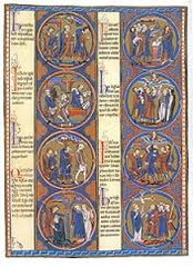 61b. Dedication Page: Scenes from the Apocalypse from Bibles moralisées Location: Cathedral, Toledo Date: c. 1225-1245 C.E. Period/Style: Gothic Europe Medium/Material: Illuminated manuscript (ink, tempera, and gold leaf on vellum) Theme(s): Beliefs Form: eight medallions; format derives from stained glass windows Function: ... Content: two vertical columns of four painted scenes; each scene has a text with a summary of the event depicted in the roundel (colophon?) Context: ... Cross Cultural Connection(s): Golden Stool (sika dwa kofi)