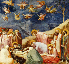 63c. Lamentation from the Arena Chapel Location: Padua, Italy Artist: Giotto di Bondone Date: c. 1305-1306 Period/Style: Gothic Italy Medium/Material: fresco Theme(s): mourning, death, grief Form: shallow stage; figures occupy a palpable space pushed forward toward the picture plane; diagonal cliff points to the bottom-left corner; light falls from above right; clear foreground, middle ground, and background Function: to depict a range of emotion, such as sadness, outbursts, and despair related to Jesus's death Content: St. John throwing his head back, Mary Magdalene cradling at Jesus's feet, Mary holding Jesus's head, left shows Old Testament scene of Jonah (Yunus) being paralleled to Christ (dying and coming back to life) Context: ... Cross Cultural Connection(s): Seated Boxer