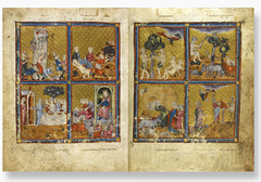 64. Golden Haggadah (The Plaques of Egypt, Scenes of Liberation and Preparation for Passover) Location: northern Spain, probably Barcelona Date: c. 1320 C.E. Culture: Jewish Period/Style: Gothic Medium/Material: Illuminated Manuscript, pigment on vellum Theme(s): Belief Form: style similar to French Gothic manuscripts in the handling of space, architecture, figure style, facial expression, and manuscript medium Function: to be read at a Passover seder Content: Jewish exodus from Egypt under Moses and its subsequent celebration upper right: Miriam (Moses' sister); upper left: the master of the house, sitting under a canopy; lower right: the house is prepared for Passover; bottom left: sheep are slaughtered for Passover and a man purifies utensils in a cauldron over a fire Context: Haggadah means