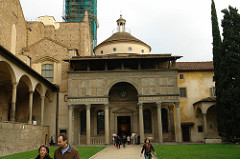67. Pazzi Chapel Location: Basilica di Santa Croce, Florence, Italy Architect: Filippo Brunelleschi Date: designed 1423 C.E.; built 1429-1461 C.E. Period/Style: Northern European Renaissance Medium/Material: Masonry Theme(s): devotion, gathering Form: rectangular chapel attached to the church of Santa Croce, Florence; two barrel vaults in the interior, small dome over crossing; restrained sense of color, muted tones, punctuated by glazed terra-cotta tiles; lantern on top of dome Function: chapel (devotion); Chapter House: meeting place for the Franciscan Monks; shows classical elements Content: Roman features: columns, entablature, architrave, cornice, porticul  Context: Attribution to Brunelleschi has been questioned Cross Cultural Connection(s): Arena Chapel