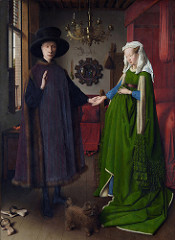 68. The Arnolfini Portrait Artist: Jan van Eyck Date: 1434 C.E. Period/Style: Northern European Renaissance Medium/Material: Oil on wood Theme(s): wedding, memorial, betrothal, business Form: Wife holds dress up to symbolize childbirth, but is not pregnant; statue of St. Margaret (patron of childbirth) seen on bedpost Function: to depict Mr. and Mrs. Arnolfini's wedding, death memorial, betrothal, or business work Content: one candle burning on Mr's side, none on Mrs's; shoes are cast off to indicate holy ground; dog (symbolizes fidelity); witnesses seen in mirror (