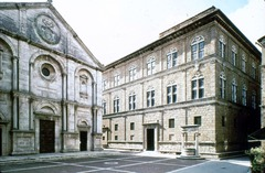 70. Palazzo Rucclelai Location: Florence, Italy Architect: Leon Battista Alberti  Date: c. 1450 C.E. Period/Style: Early Italian Renaissance Medium/Material: stone, masonry Theme(s): Form: three horizontal floors (one hidden