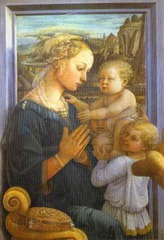 71. Madonna and Child with Two Angels Location: Uffizi, Florence, Italy Artist: Fra Filippo Lippi Date: c. 1465 Period/Style: Early Italian Renaissance Medium/Material: tempera on wood Theme(s): motherhood, landscape Form: landscape: rock formations indicate the Church; city near the Madonna's head in the Heavenly Jerusalem; scene depicted as it if were a window of a Florentine home Function: to depict the Humanization of a sacred theme Content: Motif of a pearl, seen in headdress and pillow as products of the sear (UL corner); pearls used as symbols in scenes of the Immaculate Connception of Mary and the Incarnation of Christ Context: Mary seen as a young mother; model may have been the artist's lover Cross Cultural Connection(s): Röttgen Pietá