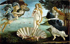 72. Birth of Venus Location: Uffzi, Florence, Italy Artist: Sandro Botticelli Date: c. 1484-1486 Period/Style: Early Italian Renaissance Medium/Material: tempera on canvas Theme(s): birth, love, pain, loyalty Form: figures float; crisply drawn figures, pale colors; flat and unrealistic; simple V-shaped waves Function: to depict the tale of Venus's birth Content: Venus emerges fully grown from the foam of the sea with a faraway look in her eyes; L: zephyr (west wind) and chloris (nymph); R: handmaiden rushes to clothe her Context: roses are scattered before her that were create at the same time as Venus, representing love's painfulness; Medici commission Cross Cultural Connection(s): Raphael, School of Athens