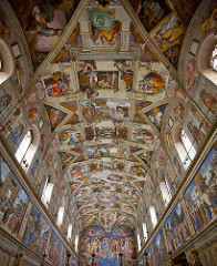 75a. Sistine Chapel (ceiling) Location: Vatican City, Italy Artist: Michelangelo Date: c. 1508-1512 C.E. Period/Style: High Renaissance Medium/Material: fresco Theme(s): motion, expression Form: complicated arrangement of figures for the ceiling; painted cornices frame groupings of figures in a highly organized way Function: place where new popes are elected Content: broadly illustrated first few chapters of Genesis, with accompanying Old Testament figures and antique sibyls; 300 figures on ceiling with no two having the same pose (Michelangelo's lifelong preoccupation with male nude in motion); enormous variety of expression; many figures are done for artistic expression rather than to enhance the narrative; acorns are a motif on the ceiling, inspired by the crest of the patron, Pope Julius II Context: Chapel itself erected in 1472 and painted by quattrocento masters including Botticelli and Perugino, as well as Michelangelo's teacher Ghirlandaio Cross Cultural Connection(s):