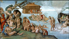75c. The Flood from the Sistine Chapel Location: Vatican City, Italy Artist: Michelangelo Date: c. 1508-1512 C.E. Period/Style: High Renaissance and  Medium/Material: fresco Theme(s): Belief Form: sculptural intensity of the figure style Function: to depict the story of Noah (Nuh) and his family's escape, as told in Genesis 7 and The Qur'an, Al-Nuh 71.1-28 Content: survivors holding onto mountain tops; man carrying drowned son to safety, only to meet his fate, 60 figures (crowded composition, horror vacui?);  Context: Ark is the only safe haven, as seen in the fresco Cross Cultural Connection(s): Lam, The Jungle; Leonardo DaVinci, Last Supper