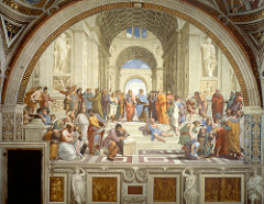 76. School of Athens Location: Vatican City, Italy  Artist: Raphael Date: 1509-1511 C.E. Period/Style: High Renaissance Medium/Material: fresco Theme(s): honor, knowledge Form: open, clear light uniformly spread throughout composition; arches direct focus to Plato and Aristotle (center) Function: to depict the great figures during and before the time of Raphael, such as Leonardo, Plato, Euclid, etc. Content: center has two greatest figures in ancient Greek thought: Plato (with the features of Leonardo on left, pointing up) and Aristotle (Plato on left, Aristotle on right); Bramante (Pope's architect) is the bald figure of Euclid on the lower right; Raphael is in the corner at extreme right; Michelangelo resting on the stone block writing a poem Context: commissioned by Pope Julius II to decorate his library Cross Cultural Connection(s): Leonardo DaVinci, Last Supper