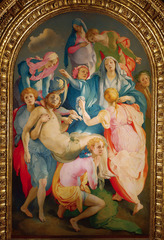 78. Entombment of Christ Location: Florence, Italy Artist: Jacopo da Pontormo Date: 1525-1528 C.E. Period/Style: High Renaissance and Mannerism Medium/Material: Oil on wood Theme(s): Chaos, desperation, sorrow Form: center of composition is a grouping of hands, elongated bodies, high-keyed colors, no group line, disembodied hands, androgynous figures, twisted bodies; anti-classical composition Function: to depict the carrying of Jesus's lifeless body  Content: Figures are not weeping, but they are yearning Context: ... Cross Cultural Connection(s):