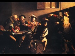 85. Calling of Saint Matthew Location: Rome, Italy Artist: Caravaggio Date: c. 1597-1601 C.E. Period/Style: Italian Baroque  Medium/Material: Oil on canvas Theme(s): chosen one Form: light comes in from two places from the right, creating a tenebrous effect on figures; diagonal shaft of light points directly to Saint Matthew, who paints to himself as if unsure that Christ would select a tax collector, depicting a moment in time Function: to depict the importance of Saint Matthew Content: Christ's hand gesture is similar to Adam's on the Sistine Chapel ceiling; foppishly dressed figures are in the latest Baroque fashion; narrow area for figures to stand; naturalist approach Context: one of three paints illustrating the life of Saint Matthew in a chapel dedicated to him by the Contarelli family Cross Cultural Connection(s):