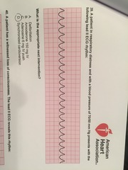 A patient in respiratory distress and with a blood pressure of 70/50 mm Hg presents with the following lead II ECG rhythm:  What is the appropriate next intervention?