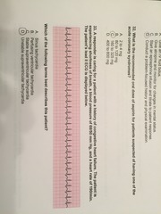 A responder is caring for a patient with a history of congestive heart failure. The patient is experiencing shortness of breath, a blood pressure of 68/50 mm Hg, and a heart rate of 190/min. The patient's lead II ECG is displayed below.
