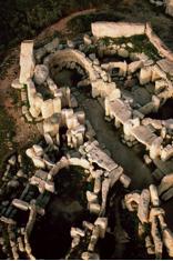 Aerial view of the ruins of Hagaar Qim, Malta