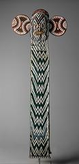 Aka elephant mask. Bamileke. 19th to 20th century ce. wood. woven raffia. cloth and beads.