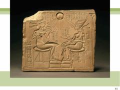 Akhenaton, Nefertiti, and three daughters. New Kingdom (Amarna), 18th dynasty. c. 1353-1335 bce limestone