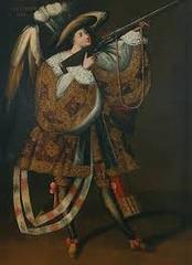 Angel and Arquebus, Asiel Timor Dei. Master of Calamarca (La Paz School). 17th century oil on canvas