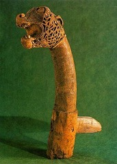 Animal Head Post from Oseberg Ship Burial,834,wood,Viking Art
