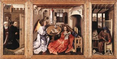 Annunciation Triptych(Merode Altarpiece). Workshop of Robert Campin. 1427-1432 CE.  Form:flemish oil painting , wood panels, mobilitary art, attention light and texture, lots of reflection, religious symbolism, modern domestic scenery Function: domestic altar piece, private art, allows an emotional connection, Virgin Mary is the focus Content: rep in the middle panel. Angel Gabriel telling Mary she will be daughter of Christ. Joseph works in his carpenter shop.