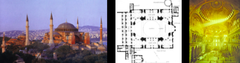 Anthemius of Tralles and Isidorus of Miletus, exterior, plan and interior of Hagia Sophia, Constantinople, 532-537 CE (Early Byzantine Art)
