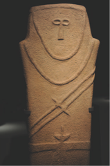 Anthropomorphic stele. Arabian Peninsula. Fourth millennium B.C.E. Sandstone.