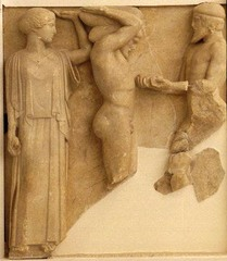 Athena, Herakles, and Atlas from the Temple of Zeus, c. 470-456 B.C.E.,marble, Greek Classical